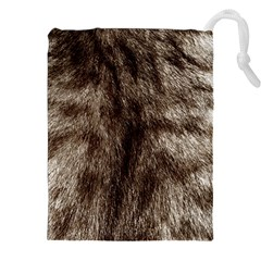 Black and White Silver Tiger Fur Drawstring Pouches (XXL)