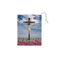 Jesus On The Cross Illustration Drawstring Pouches (XS)