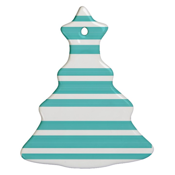 Teal adn White Stripe Designs Christmas Tree Ornament (2 Sides)