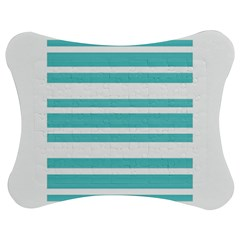 Teal adn White Stripe Designs Jigsaw Puzzle Photo Stand (Bow)