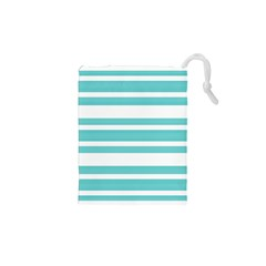 Teal adn White Stripe Designs Drawstring Pouches (XS)