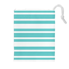 Teal adn White Stripe Designs Drawstring Pouches (Extra Large)