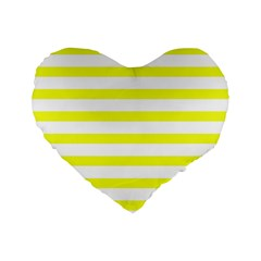 Bright Yellow And White Stripes Standard 16  Premium Flano Heart Shape Cushions