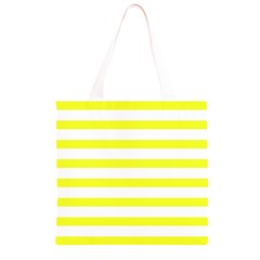 Bright Yellow and White Stripes Grocery Light Tote Bag