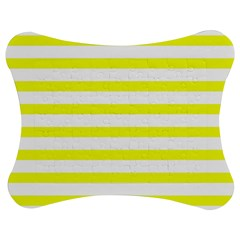 Bright Yellow and White Stripes Jigsaw Puzzle Photo Stand (Bow)