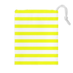 Bright Yellow And White Stripes Drawstring Pouches (extra Large)