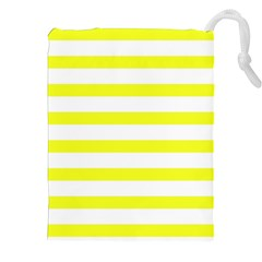 Bright Yellow and White Stripes Drawstring Pouches (XXL)