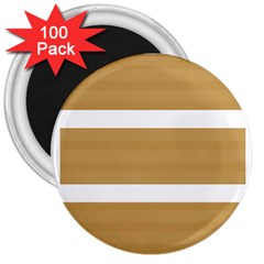 Beige/ Brown And White Stripes Design 3  Magnets (100 Pack)