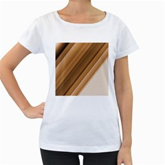 Metallic Brown/neige Stripes Women s Loose Fit T Shirt (white)
