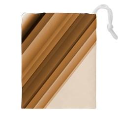 Metallic Brown/Neige Stripes Drawstring Pouches (XXL)