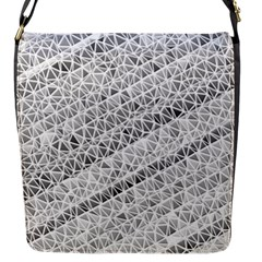 Silver Abstract And Stripes Flap Messenger Bag (s)