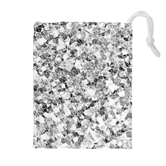 Silver Abstract Design Drawstring Pouches (Extra Large)