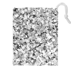 Silver Abstract Design Drawstring Pouches (XXL)