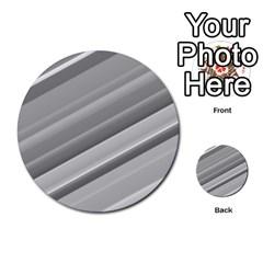 Elegant Silver Metallic Stripe Design Multi Purpose Cards (round)