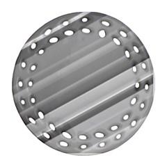 Elegant Silver Metallic Stripe Design Round Filigree Ornament (2side)