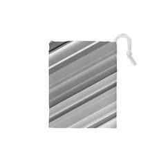 Elegant Silver Metallic Stripe Design Drawstring Pouches (XS)