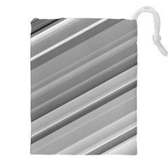 Elegant Silver Metallic Stripe Design Drawstring Pouches (XXL)
