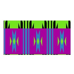 Tribal Shapes On A Green Background Satin Shawl