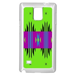 Tribal Shapes On A Green Background samsung Galaxy Note 4 Case (white)
