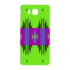 Tribal Shapes On A Green Background 			samsung Galaxy Alpha Hardshell Back Case