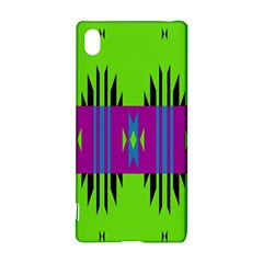 Tribal shapes on a green background 			Sony Xperia Z3+ Hardshell Case