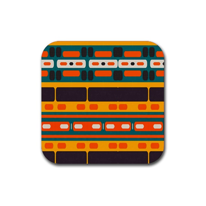 Rectangles in retro colors texture Rubber Square Coaster (4 pack