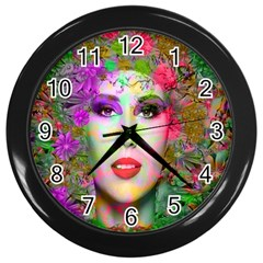 Flowers In Your Hair Wall Clocks (black)
