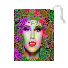 Flowers In Your Hair Drawstring Pouches (Extra Large)