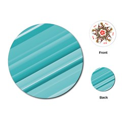 Teal And White Fun Playing Cards (round)