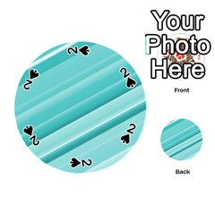 Teal And White Fun Playing Cards 54 (round)