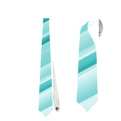 Teal And White Fun Neckties (one Side)