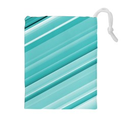 Teal and White Fun Drawstring Pouches (Extra Large)