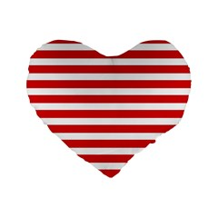 Red And White Stripes Standard 16  Premium Flano Heart Shape Cushions