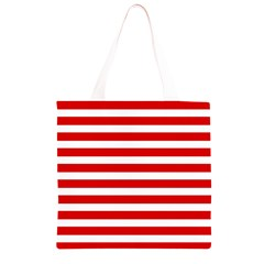 Red and White Stripes Grocery Light Tote Bag