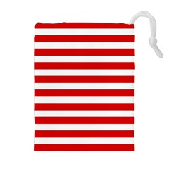 Red and White Stripes Drawstring Pouches (Extra Large)