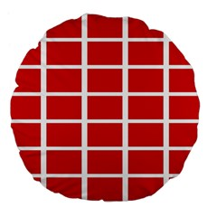 Red Cubes Stripes Large 18  Premium Flano Round Cushions