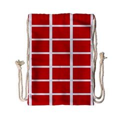 Red Cubes Stripes Drawstring Bag (small)