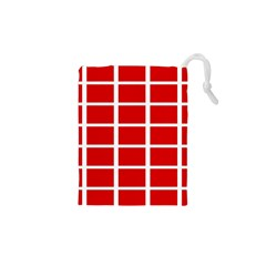 Red Cubes Stripes Drawstring Pouches (xs)