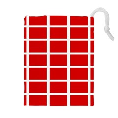 Red Cubes Stripes Drawstring Pouches (extra Large)