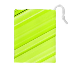Bright Green Stripes Drawstring Pouches (extra Large)