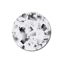 Gray And Silver Cubes Abstract Rubber Coaster (round)