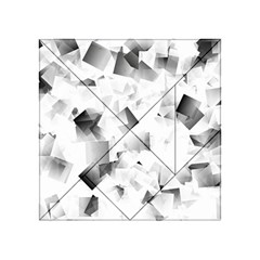 Gray And Silver Cubes Abstract Acrylic Tangram Puzzle (4  X 4 )