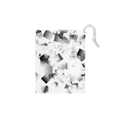 Gray and Silver Cubes Abstract Drawstring Pouches (XS)