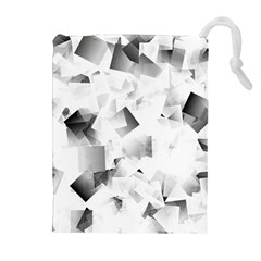Gray And Silver Cubes Abstract Drawstring Pouches (extra Large)