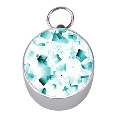 Modern Teal Cubes Mini Silver Compasses