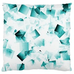 Modern Teal Cubes Large Flano Cushion Cases (one Side)