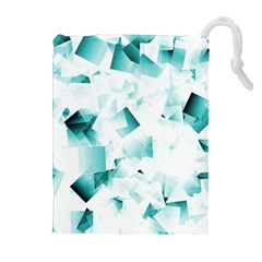 Modern Teal Cubes Drawstring Pouches (Extra Large)