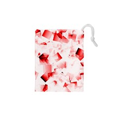 Modern Red Cubes Drawstring Pouches (XS)