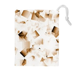 Modern Brown Cubes Drawstring Pouches (extra Large)