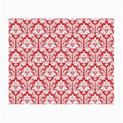 White On Red Damask Glasses Cloth (Small, Two Sided)